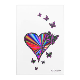 Rainbow Heart and Butterfly Acrylic Wall Art