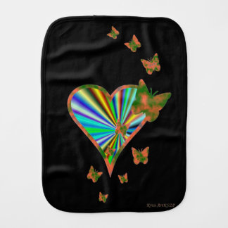 Rainbow Heart and Butterfly Burp Cloth