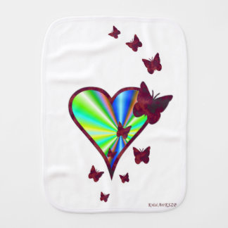 Rainbow Heart and Butterfly Burp Cloth