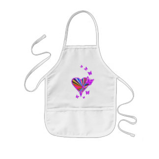 Rainbow Heart and Butterfly Kids Apron
