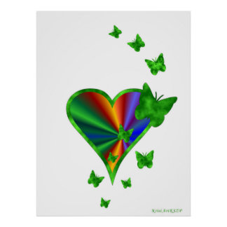 Rainbow Heart and Butterfly Poster