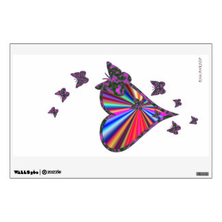 Rainbow Heart and Butterfly Wall Decal