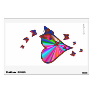 Rainbow Heart and Butterfly Wall Sticker