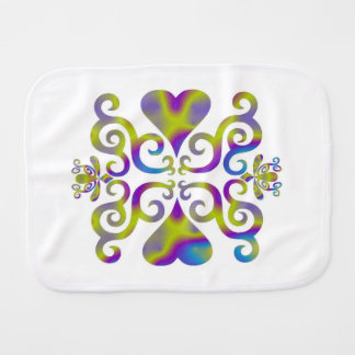 Rainbow Heart and Lily Burp Cloth
