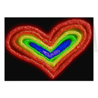Rainbow heart bat mitzvah card