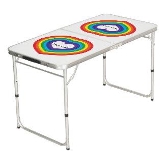 Rainbow heart beer pong table