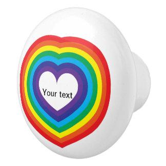 Rainbow heart ceramic knob
