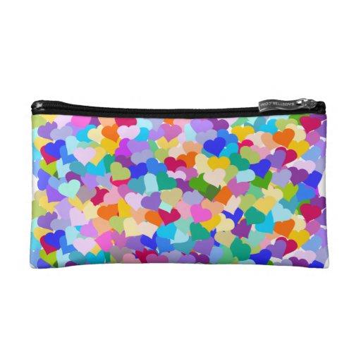 Rainbow Heart Confetti Cosmetic Bags