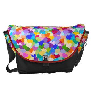 Rainbow Heart Confetti Messenger Bags