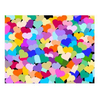 Rainbow Heart Confetti Postcards