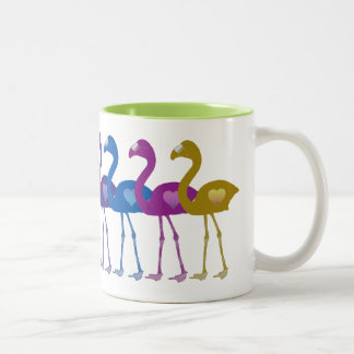 Rainbow Heart Flamingos Retro Vintage Coffee Mug