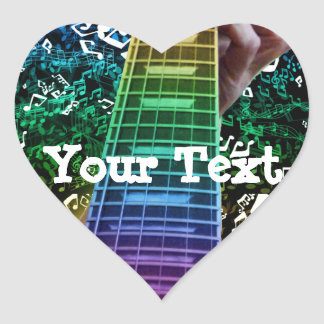 Rainbow Heart Guitar Notes Personal Music Sticker