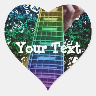 Rainbow Heart Guitar Notes Personal Music Sticker Heart Sticker