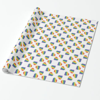 Rainbow heart kaleidescope wrapping paper