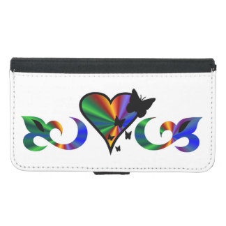 Rainbow Heart Lily and Butterfly Samsung Galaxy S5 Wallet Case