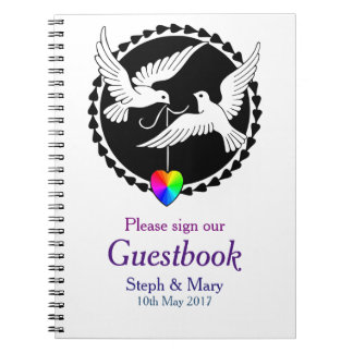 Rainbow Heart Love Doves Lesbian Wedding Guestbook Notebook
