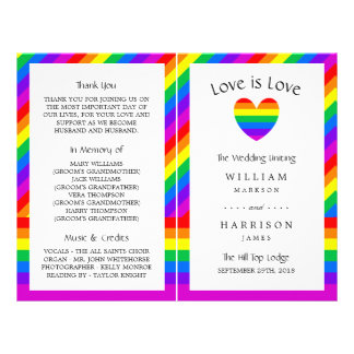 Rainbow Heart Love is Love Wedding Bi-fold Program Flyer