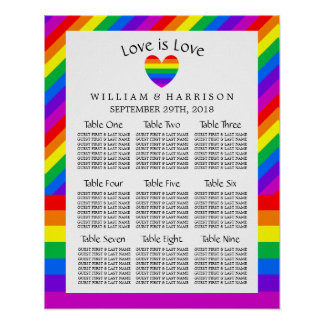 Rainbow Heart Love is Love Wedding Seating Chart