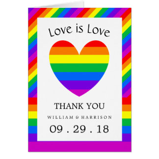 Rainbow Heart Love is Love Wedding Thank You Card