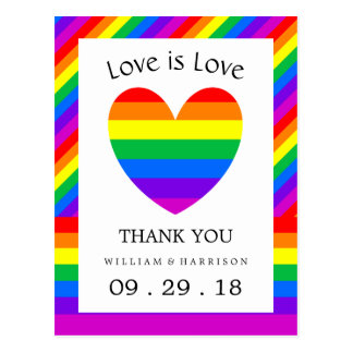 Rainbow Heart Love is Love Wedding Thank You Postcard