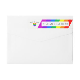 Rainbow Heart Love is Love Wedding Wrap Around Label