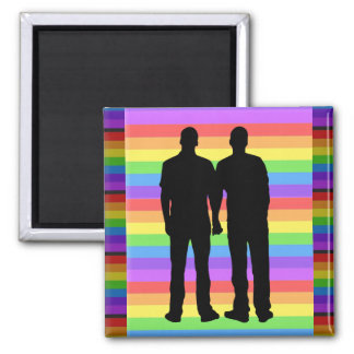 Rainbow Heart Love LGBT Gay  Button Square Magnet