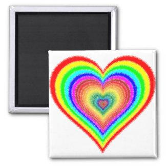 Rainbow Heart Love LGBT Gay Lesbian Button Square Magnet