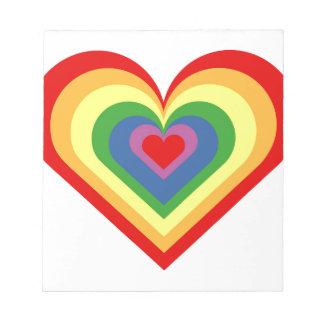 Rainbow Heart Notepad