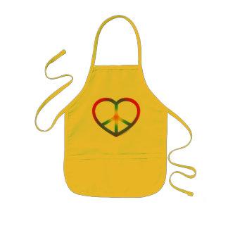 Rainbow Heart Peace Sign Kids Apron