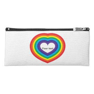 Rainbow heart pencil case
