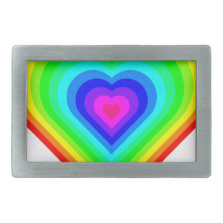Rainbow Heart Rectangular Belt Buckle
