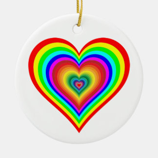 Rainbow heart round ceramic ornament