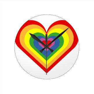 Rainbow Heart Round Clock