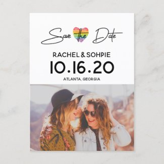 Rainbow Heart Save the Date Announcement Postcard