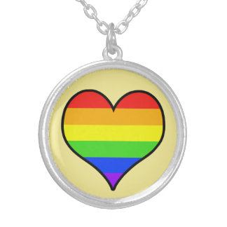Rainbow Heart Silver Plated Necklace