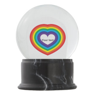 Rainbow heart snow globe