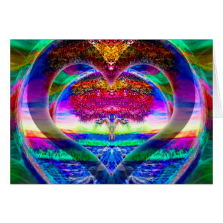 Rainbow Heart Tree of Life Card