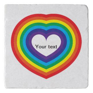 Rainbow heart trivet