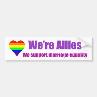 "Rainbow Heart ""We're Allies"" bumper sticker"