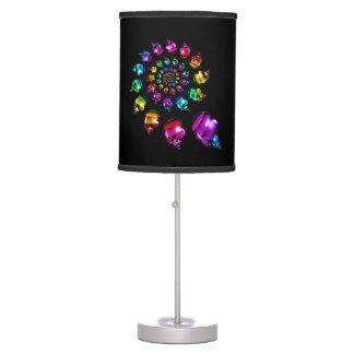 Rainbow Heart Wheel on Black Table Lamp