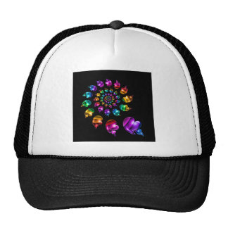 Rainbow Heart Wheel on Black Trucker Hat