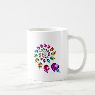 Rainbow Heart Wheel on White Basic White Mug