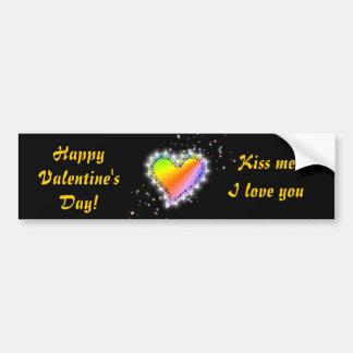 Rainbow heart with asterisks on black bumper sticker