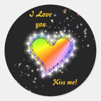 Rainbow heart with asterisks on black round sticker