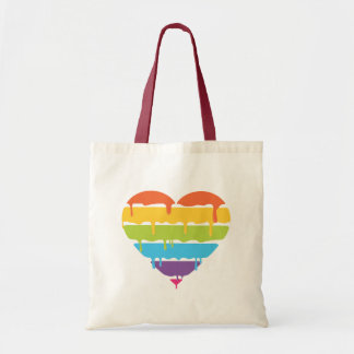 Rainbow heart with dripping paint tote bag
