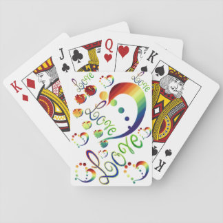 Rainbow Hearts and Love Pride Playing Cards