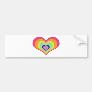 Rainbow Hearts Art Bumper Sticker