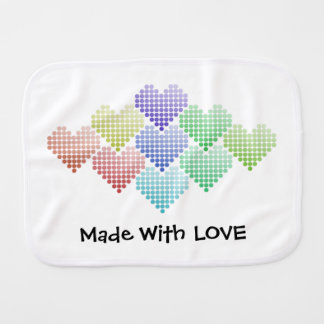 Rainbow Hearts Burp Cloth