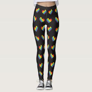 Rainbow Hearts Pattern LGBT Pride Leggings