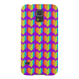 Rainbow hearts pattern on purple galaxy s5 covers